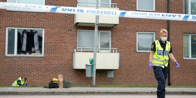 Forensic police investigates on August 22, 2016, in Gothenburg, the area, where an explosion demolished an apartment the night before.    An eight-year-old boy was killed Monday night when a grenade was thrown into the apartment in Sweden where he was sleeping, police said, adding he was likely the victim of an underworld feud.   / AFP / TT News Agency / Bjorn LARSSON ROSVALL / Sweden OUT        (Photo credit should read BJORN LARSSON ROSVALL/AFP/Getty Images)