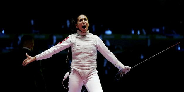 2016 Rio Olympics - Fencing - Final - Women's Foil Individual Bronze Medal Bout - Carioca Arena 3 - Rio de Janeiro, Brazil - 10/08/2016. Ines Boubakri (TUN) of Tunisia celebrates winning the match. REUTERS/Issei Kato FOR EDITORIAL USE ONLY. NOT FOR SALE FOR MARKETING OR ADVERTISING CAMPAIGNS.