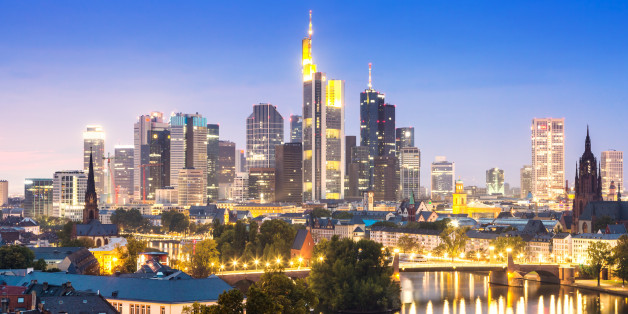 Financial district at night, Frankfurt Am Main, Hesse, Germany