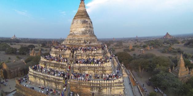 바간에 있는 불교 사원의 평소 모습