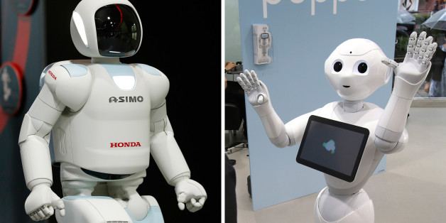 FILE  - This combination of file photos taken on July 3, 2013, left, and June 6, 2014 both in Tokyo shows Japanese automaker Honda Motor Co.'s walking robot Asimo, left, and Japanese internet company SoftBank's humanoid robot Pepper. Is Asimo marrying Pepper? Honda and SoftBank said Thursday, July 20, 2016, they will work together on artificial intelligence to develop products with sensors and cameras that can converse with drivers. Asimo, first shown in 1996, walks, runs, dances and grips