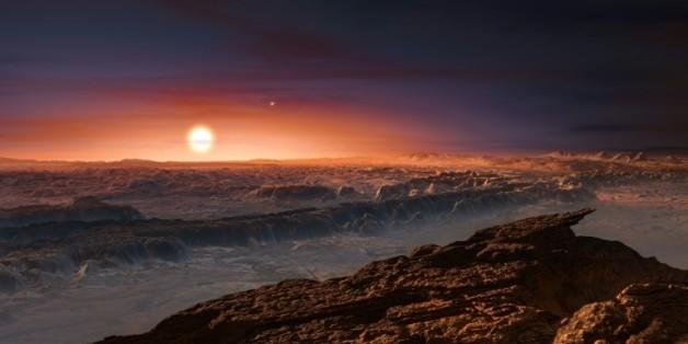 Vue d'artiste diffusée le 24 août 2016 de l'exoplanète Proxima b en orbite autour de Proxima du Centaure