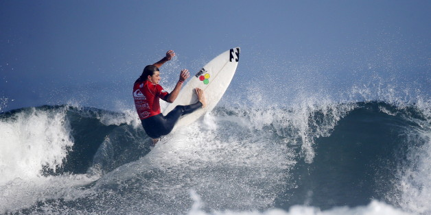 French surfer Diego Mignot rides his wave at Casablanca Beach, also known as the Pepsi spot during the World Surf League's (WSL) Quiksilver Pro surfing competition, the first ever in Morocco in Casablanca, Morocco, September 10, 2015. REUTERS/Youssef Boudlal