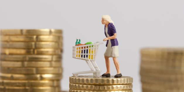 (GERMANY OUT) Germany - Woman with trolley on a pile with Euro cent coins  (Photo by Classen/ullstein bild via Getty Images)