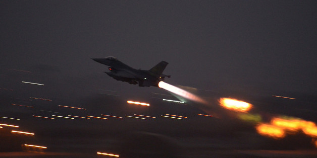 In this image provided by the U.S. Air Force, an F-16 Fighting Falcon takes off from Incirlik Air Base, Turkey, as the U.S. on Wednesday, Aug. 12, 2015, launched its first airstrikes by Turkey-based F-16 fighter jets against Islamic State targets in Syria, marking a limited escalation of a yearlong air campaign that critics have called excessively cautious.  (Krystal Ardrey/U.S. Air Force via AP))
