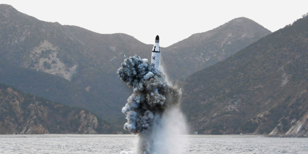 FILE PHOTO - An underwater test-firing of a strategic submarine ballistic missile is seen in this undated photo released by North Korea's Korean Central News Agency (KCNA) in Pyongyang on April 24, 2016. KCNA/File Photo via REUTERS. ATTENTION EDITORS - THIS IMAGE WAS PROVIDED BY A THIRD PARTY. EDITORIAL USE ONLY. REUTERS IS UNABLE TO INDEPENDENTLY VERIFY THIS IMAGE. SOUTH KOREA OUT.