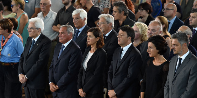 ASCOLI PICENO, ITALY - AUGUST 27: (L-R) Italian President Sergio Mattarella, Italy's upper house of Parliament Piero Grasso, Italy's lower house of Parliament Laura Boldrini, Italian Prime Minister Matteo Renzi and his wife Agnese Landini attend a funeral mass for victims of the recent earthquake on August 27, 2016 in Ascoli Piceno, Italy. Italy has declared a state of emergency in the regions worst hit by Wednesday's earthquake as hopes diminish of finding more survivors. At least 290 people ar