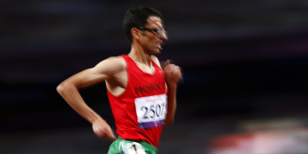 El Amin Chentouf of Morocco runs on his way to winning the Men's 5000m final T12 during the London 2012 Paralympic Games at the Olympic Stadium in London, September 3, 2012. The T12 category denotes a level of visual impairment.  REUTERS/Andrew Winning (BRITAIN - Tags: SPORT OLYMPICS ATHLETICS)