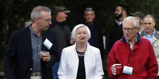 Federal Reserve Chair Janet Yellen, center, strolls with Stanley Fischer, right, vice chairman of the Board of Governors of the Federal Reserve System, and Bill Dudley, the president of the Federal Reserve Bank of New York, before Yellen's speech to the annual invitation-only conference of central bankers from around the world, at Jackson Lake Lodge in Grand Teton National Park, north of Jackson Hole, Wyo., Friday, Aug 26, 2016. (AP Photo/Brennan Linsley)