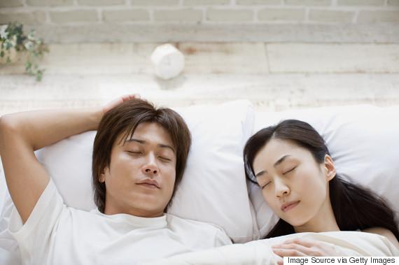 asian man sleeping