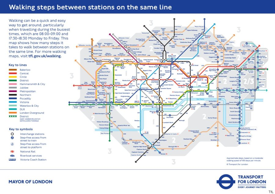Tube Map Reveals Walking Distances Between Different London