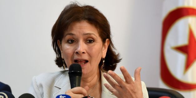 Sihem Ben Sedrine, president of the Forum of Truth and Dignity (FTD) speaks to journalists during a press conference on June 17, 2016 in Tunis, as the deadline for the submission of complaints of abuse under former presidents Habib Bourguiba and Zine El Abidine Ben Ali passed. 