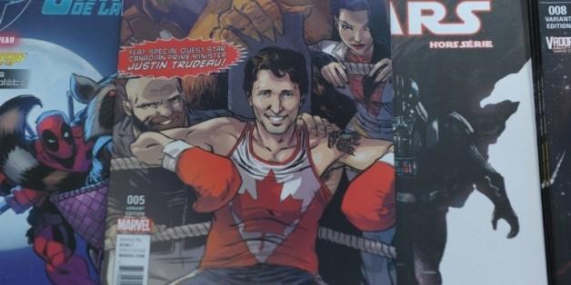 Le Premier ministre canadien Justin Trudeau, super-héros dans une BD de l'éditeur américain Marvel, le 31 août 2016 à Montréa
