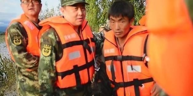 중국 구조대가 구조한 북한 주민