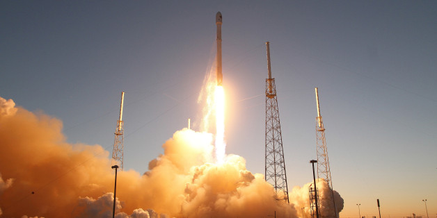 A SpaceX Falcon9 rocket blasts off the launch pad on Wednesday, Feb. 11, 2015, carrying the NOAA's Deep Space Climate Observatory spacecraft