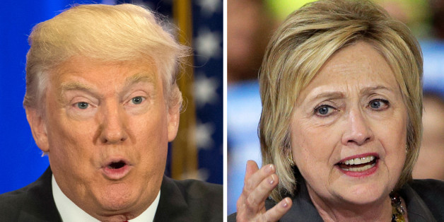 This photo combo of file images shows U.S. presidential candidates Donald Trump, left, and Hillary Clinton. Income inequality has been a rallying cry of the 2016 election, with more Americans turning fearful and angry about a shrinking middle class. Trump has pledged to restore prosperity by ripping up trade deals and using tariffs to return manufacturing jobs from overseas. Clinton has backed a debt-free college option and higher minimum wages to help the middle class. (AP Photo/Mary Altaffer,