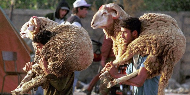 Two Moroccan men carry sheep to sacrifice them for the Muslim Eid al-Adha feast, 40 days after the end of Ramadan, in the souk of Ifriquia in Casablanca,  Friday March 17, 2000. (AP Photo / Abdeljalil Bounhar)