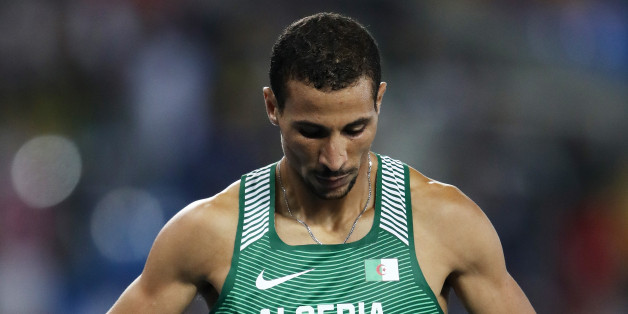 RIO DE JANEIRO, BRAZIL - AUGUST 20:  Taoufik Makhloufi of Algeria celebrates after winning silver in the Men's 1500 meter Final on Day 15 of the Rio 2016 Olympic Games at the Olympic Stadium on August 20, 2016 in Rio de Janeiro, Brazil.  (Photo by Cameron Spencer/Getty Images)