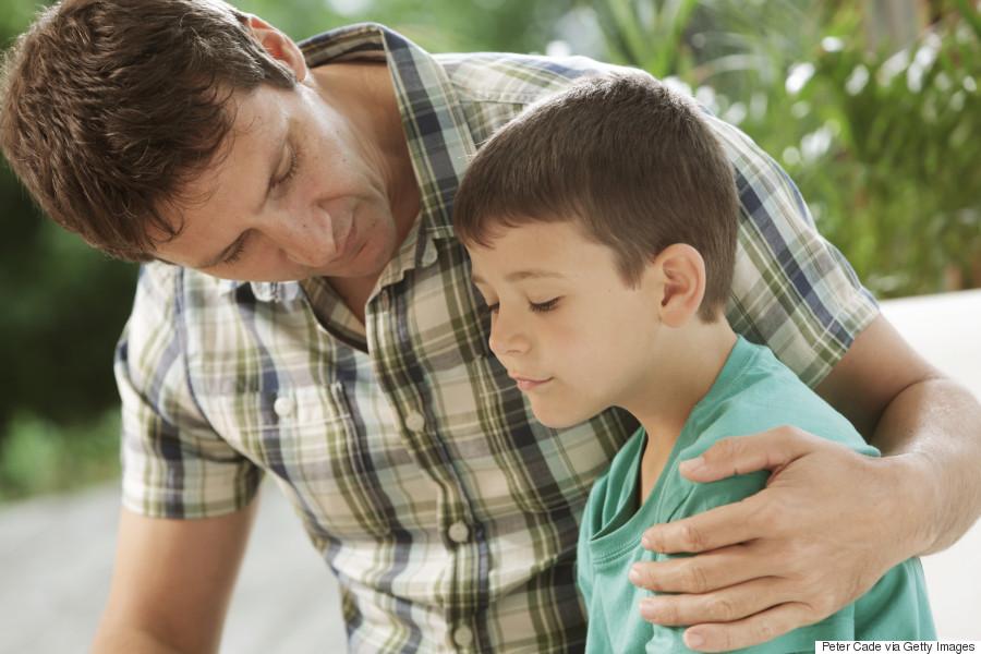 parent comforting kid