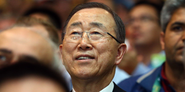 2016 Rio Olympics - Shooting - Final - Women's 10m Air Rifle Finals - Olympic Shooting Centre - Rio de Janeiro, Brazil - 06/08/2016. U.N. Secretary General Ban Ki-moon watches the finals.  REUTERS/Jeremy Lee  FOR EDITORIAL USE ONLY. NOT FOR SALE FOR MARKETING OR ADVERTISING CAMPAIGNS.