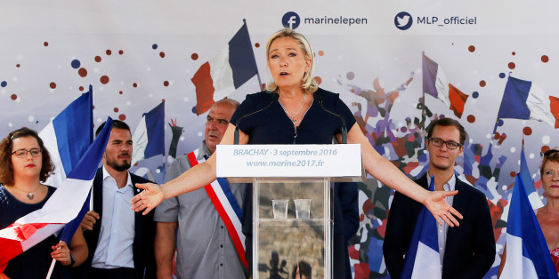 Marine Le Pen, French National Front (FN) political party leader and a member of the European Parliament, delivers a speech as she attends a FN political rally in Brachay, France, September 3, 2016. REUTERS/Gonzalo Fuentes