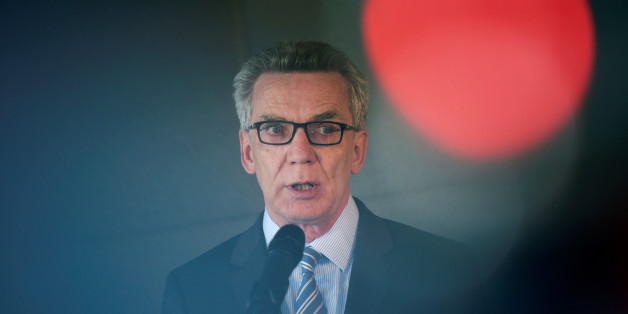 German Interior Minister Thomas de Maiziere speaks to the media after a vistit at the Facebook office in Berlin, Germany August 29, 2016. REUTERS/Stefanie Loos