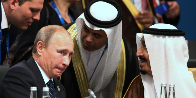HANGZHOU, CHINA - SEPTEMBER 4, 2016: Russia's President Vladimir Putin pictured during a meeting with Saudi Arabian Deputy Crown Prince and Defence Minister Mohammed bin Salman as part of the G20 Summit in Hangzhou, China. Alexei Druzhinin/Russian Presidential Press and Information Office/TASS (Photo by Alexei Druzhinin\TASS via Getty Images)