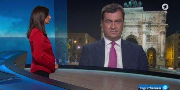 """Der bayerischen Finanzminister Markus Söder in den """"Tagesthemen"""""""