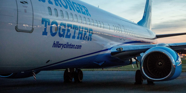 A new campaign plane for Democratic presidential candidate Hillary Clinton sits on the tarmac at the Westchester County Airport in White Plains, N.Y., Monday, Sept. 5, 2016. Clinton will travel to Cleveland and Illinois for Labor Day events. (AP Photo/Andrew Harnik)