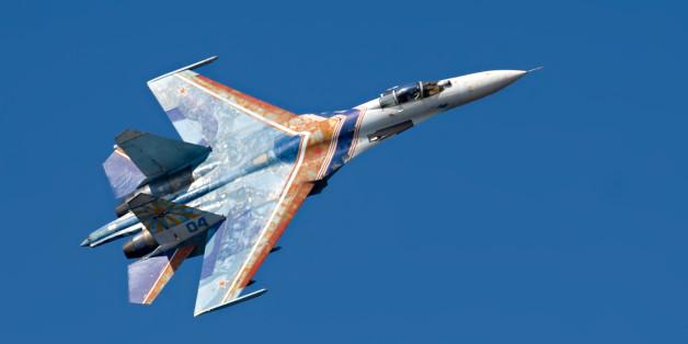 Ein russisches Kampfflugzeug vom Typ SU-27