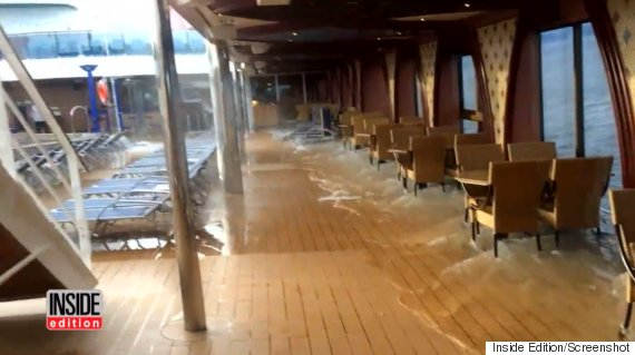 Water From Swimming Pools Sloshes Around On A Deck Of The Carnival Legend Aug 29 Photo Inside Edition Screenshot