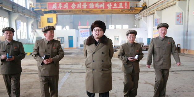 North Korean leader Kim Jong Un (C) visits the February 11 plant at the Ryongsong Machine Complex in this undated photo released by North Korea's Korean Central News Agency (KCNA) in Pyongyang March 24, 2016. REUTERS/KCNA ATTENTION EDITORS - THIS PICTURE WAS PROVIDED BY A THIRD PARTY. REUTERS IS UNABLE TO INDEPENDENTLY VERIFY THE AUTHENTICITY, CONTENT, LOCATION OR DATE OF THIS IMAGE. FOR EDITORIAL USE ONLY. NOT FOR SALE FOR MARKETING OR ADVERTISING CAMPAIGNS. THIS PICTURE IS DISTRIBUTED EXACTLY AS RECEIVED BY REUTERS, AS A SERVICE TO CLIENTS. NO THIRD PARTY SALES. SOUTH KOREA OUT. NO COMMERCIAL OR EDITORIAL SALES IN SOUTH KOREA