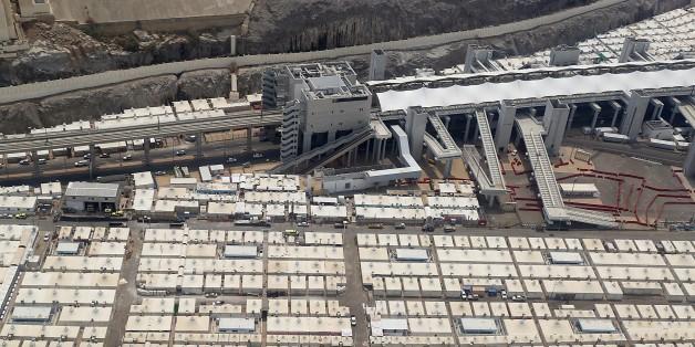 Vue aérienne de la zone de Mina, près de la Mecque où des tentes ont été installées, le 6 septembre 2016