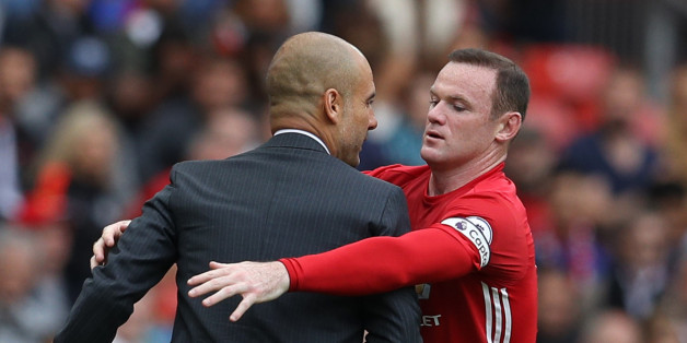 "Britain Soccer Football - Manchester United v Manchester City - Premier League - Old Trafford - 10/9/16Manchester United's Wayne Rooney clashes with Manchester City manager Pep Guardiola Reuters / Phil NobleLivepicEDITORIAL USE ONLY. No use with unauthorized audio, video, data, fixture lists, club/league logos or ""live"" services. Online in-match use limited to 45 images, no video emulation. No use in betting, games or single club/league/player publications.  Please contact your account represent"