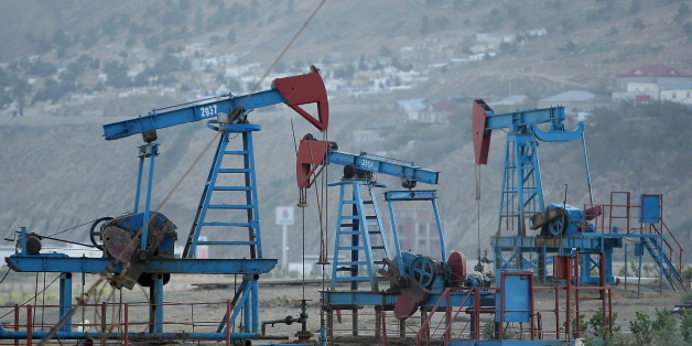 A pumpjack lifts crude oil in 20 km from Baku. Azerbaijan, Monday, September 5, 2016  Saudi Arabia opposed the freezing of oil production, about this said today the Minister of Energy, Industry and Mineral Resources of the Kingdom Khalid Al-Falih. (Photo by Danil Shamkin/NurPhoto via Getty Images)