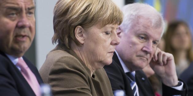 Sigmar Gabriel, Angela Merkel und Horst Seehofer bei einem Treffen im Kanzleramt im April 2016