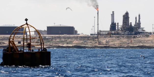 Vue du terminal pétrolier de Zawiya, 22 août 2013