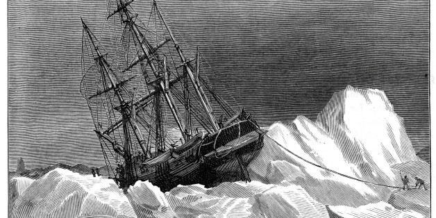 'Vintage engraving from 1878 showing HMS Terror trapped in the Ice.  The Terror along with HMS Erebus was part John Franklin's expedition to the Arctic in 1845, where they became trapped in ice near King William Island and were abandoned in 1848.'