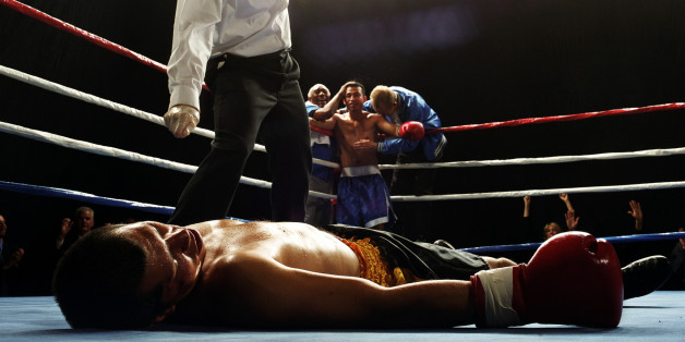 Referee counting him out.