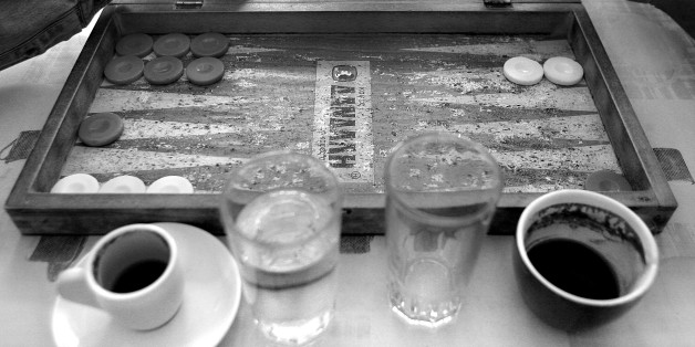 The old Tavli (backgammon) board in a kafenion (traditional cafe) Crete, Greece.