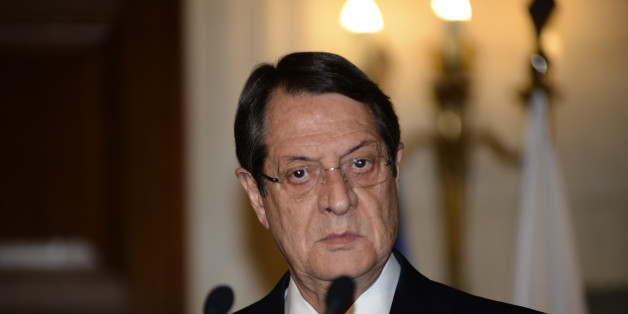 Cypriot President Nikos Anastasiadis visits the Greek Prime Minister Alexis Tsipras on April, 17. in Athens, Maximos Mansion - the PM's residence . The two statesmen agreed on geopolitical issues as well as on a statement against austerity(Photo by Wassilios Aswestopoulos/NurPhoto) (Photo by NurPhoto/NurPhoto via Getty Images)