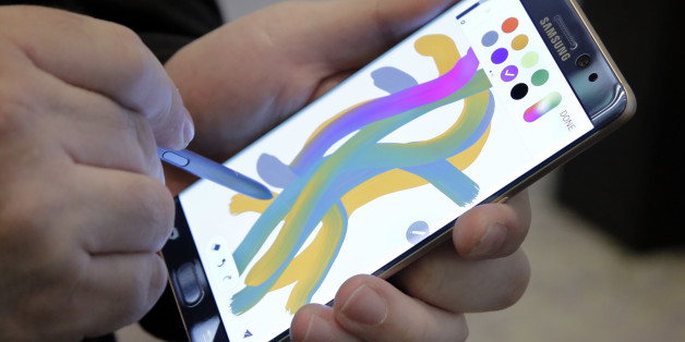 In this July 28, 2016, photo, a color blending feature of the Galaxy Note 7 is demonstrated in New York. Samsung releases an update to its jumbo smartphone and virtual-reality headset, mostly with enhancements rather than anything revolutionary during a preview of Samsung products. (AP Photo/Richard Drew)
