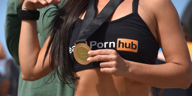 31st Rio 2016 Olympics / Previews Illustration / Sex website Pornhub promotion girls / Hostess / sexy / Gold Medal /  Summer Olympic Games / (Photo by Tim de Waele/Corbis via Getty Images)