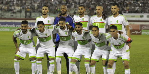 Algerian national football team players pose before their 2017 African Cup of Nations qualifying football match Algeria versus Lesotho on September 4, 2016 in Blida, 50km southwestern Algiers.Algeria won 6-0. / AFP / RYAD KRAMDI        (Photo credit should read RYAD KRAMDI/AFP/Getty Images)
