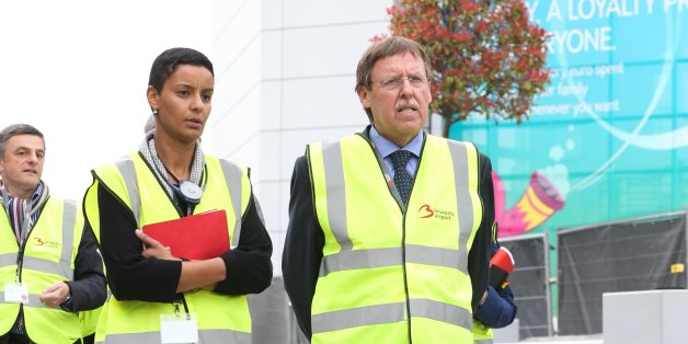 Social-democratic Flemish party (SPA) member Meryame Kitir and centre-right Flemish nationalist and conservative party (N-VA) member Siegfried Bracke attend a visit of the Parliamentary Inquiry Commission of the Federal Parliament at the Brussels Airport of Zaventem on April 22, 2016