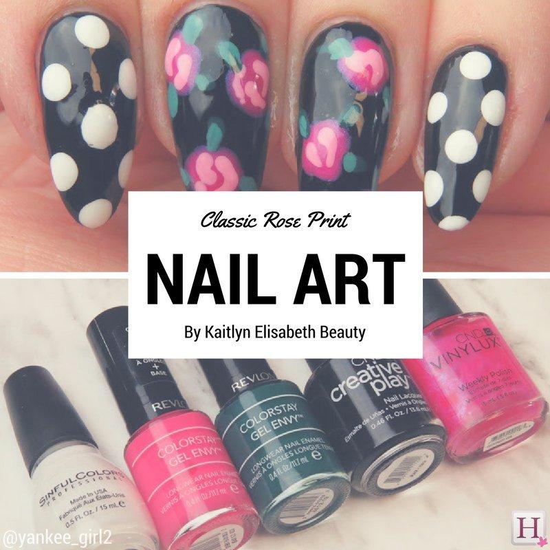 Nail art a classic rose and polka dot design classic rose nail art prinsesfo Gallery