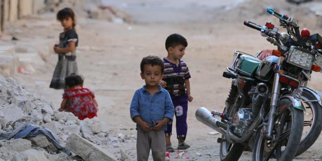 Eine Szene aus einem Rebellenviertel der nordsyrischen Stadt Aleppo.