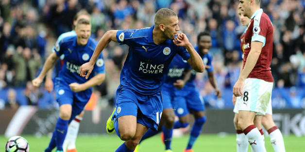 LEICESTER, ENGLAND - SEPTEMBER 17 : Islam Slimani of Leicester City celebrates his first premier league goal to make it 1-0 during the Barclays Premier League match between Leicester City and Burnley at the King Power Stadium on September 17th , 2016 in Leicester, United Kingdom.  (Photo by Plumb Images/Leicester City FC via Getty Images)