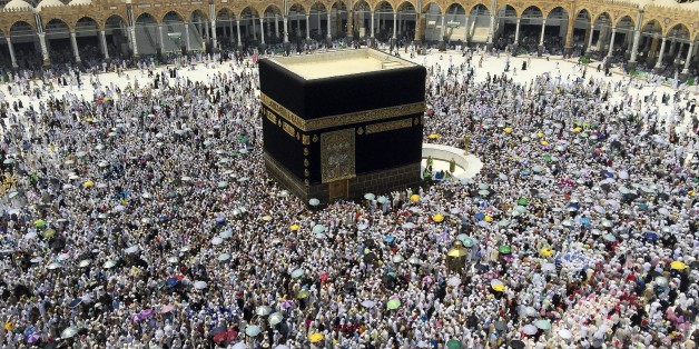 MECCA, SAUDI ARABIA - SEPTEMBER 15: Prospective pilgrims make the farewell circumambulation of the Kaaba on the last day of Eid Al-Adha, after stoning of the devil ritual during Hajj in Mecca, Saudi Arabia on September 15, 2016. Muslims worldwide celebrate Eid Al-Adha, to commemorate the holy Prophet Ibrahim''s (Prophet Abraham) readiness to sacrifice his son as a sign of his obedience to God, during which they sacrifice permissible animals, generally goats, sheep, and cows. Eid-al Adha is th
