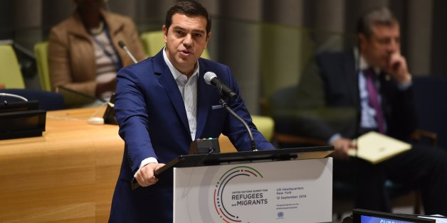 Greek Prime Minister Alexis Tsipras speaks during the High-level plenary meeting on addressing large movements of refugees and migrants in the Trusteeship Council Chamber during the 71st session of the United Nations in New York September 19, 2016.A summit to address the biggest refugee crisis since World War II opens at the United Nations on Monday, overshadowed by the ongoing war in Syria and faltering US-Russian efforts to halt the fighting. World leaders will adopt a political declaration at